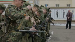 Kazan - Russia, 22 april 2014: Cadets of the Kazan Suvorov military school - students checking weapon