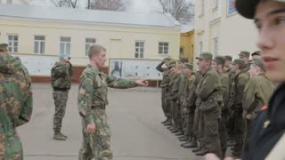 Kazan - Russia, 22 april 2014: Cadets of the Kazan Suvorov military school - the tired cadets report back after the mission