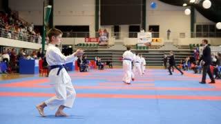 "Kazan, Russia, 8 april 2017, Palace of single combats ""Ak Bars"" Kids karate competition WKF - karate kid performing single show - kata"