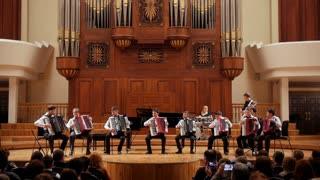 Kazan, Russia - april 15, 2017: Saydashev State Great Concert Hall - performing orchestra of accordionists - children Teens on scene