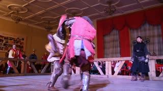 """Kazan, RUSSIA - February 18, 2017: Fighting of knights, Championship in Historical Medieval Battle HMB - """"Donjon Cup"""""""