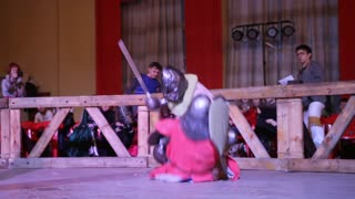 """Kazan, RUSSIA - February 18, 2017: knights fell to the arena, Championship in Historical Medieval Battle HMB - """"Donjon Cup"""""""