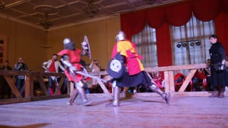 """Kazan, RUSSIA - February 18, 2017: knights fighting with swords and shields, Championship in Historical Medieval Battle HMB - """"Donjon Cup"""""""