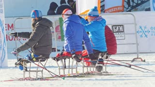 KAZAN, RUSSIA - March, 2018: Paralympic athletes with disabilities participating in the winter ski-marathon