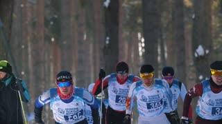 KAZAN, RUSSIA - March, 2018: professional athletes skiers running ski marathon