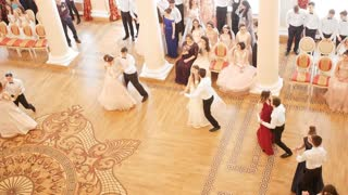 KAZAN, RUSSIA - MARCH 30, 2018: Couples whirling in the beautiful dance