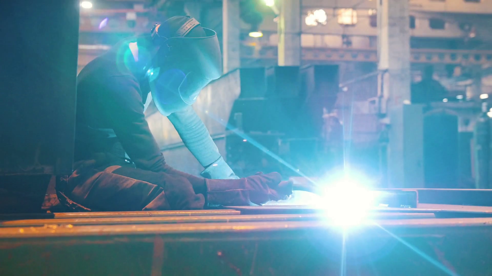 Man Worker On The Plant Working With The Welding Machine Stock Video Footage Storyblocks