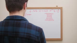 Man writing and drawing formulas, graphs and charts with marker on white board