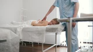 Medical massage for beauty blonde model woman