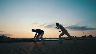 Men with a sporty physique are engaged in the Brazilian martial art of capoeira in the open air, on the asphalt, on the background of the beauty of the promenade and the summer sunset