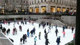 New York City, USA December 2017: Rockefeller Center ice skating - christmas decorating