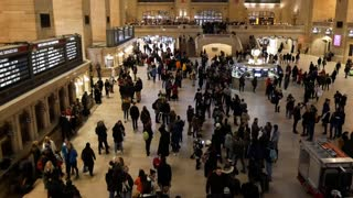 NEW YORK, USA - DECEMBER, 2017: Grand Central Station in New York City - crowd of tourists, christmas decorating