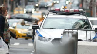 NEW YORK, USA - DECEMBER, 2017: NYPD police vehicle at 5-th avenue, Manhattan