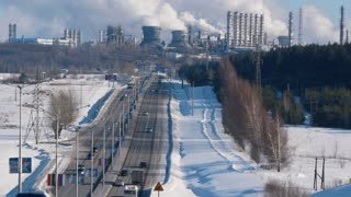 NIZHNEKAMSK, RUSSIA - March, 2018: panorama of the industrial city with a large energy and chemical plant
