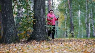 Old women walking in an autumn park during a scandinavian walk. Side angle