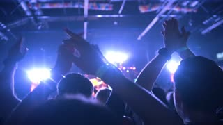 People pulls hands up at a rock concert, slow-motion