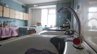 Poor soviet kitchen - faulty water running water faucet