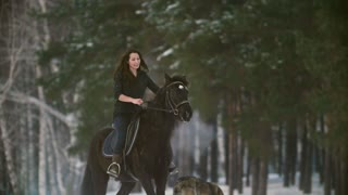 Professional beautiful longhaired woman riding a black horse through the deep snow in the forest, independent stallion prancing, snorting and standing up on its hind legs