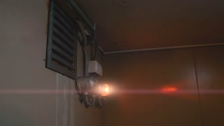 Red emergency lighting with anamorphic flares