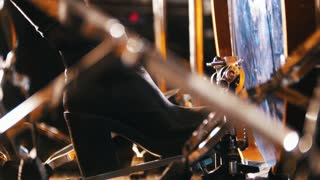 Repetition. Girl playing drums. Kick