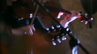 Rock band - Woman playing the violin at rock concert