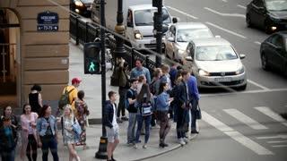 Saint-Petersburg, Russia, 3 july 2017, Nevsky prospect, people on road cross in the centre of Saint-Petersburg
