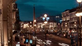 Saint-Petersburg, Russia -July 5, 2017, time-lapse of Nevsky Prospekt at night