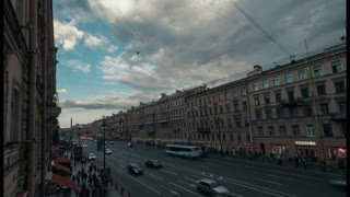 Saint-Petersburg, Russia -July 5, 2017, white nights on Nevsky Prospekt, time-lapse