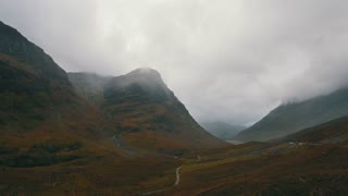 Scottish mountains in highland - mist and clouds