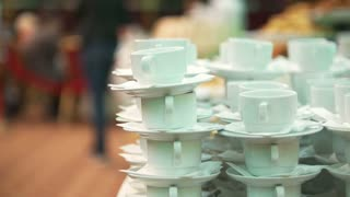 Set of coffee cups on catering service at conference