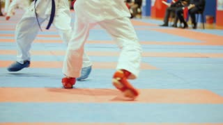Sports kids - female sportsmen on karate