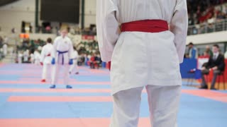 Sports kids - girl sportsmen on karate - looking to competitor
