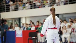 Sports teenagers - girl teenager sportsmen at karate tatami - ready for fight