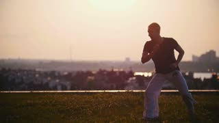Strong man performs elements of the Brazilian martial art of capoeira in the rays of amazing summer sunset
