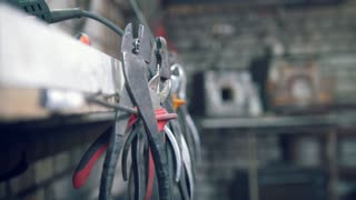The pliers in the workshop of blacksmith