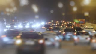 Tilt Shift Time Lapse Traffic on snow winter highway