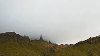 Time-lapse of mountain landscape at misty day - Isle of Skye, Scotland