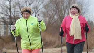 Two elderly woman in autumn park have modern healthy training - nordic walking