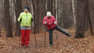 Two happy elderly women in autumn park doing warm up before exercises - nordic walking