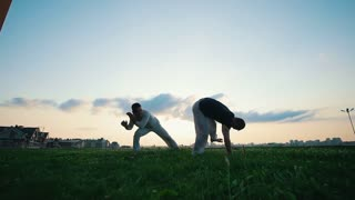 Two men practicing capoeira in grass, summer, at sunset