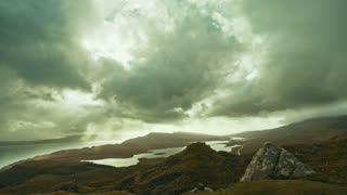 View of sea and mountains from top - Old Man of Storr - time-lapse, Isle of Skye, Scotland