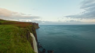 Waterfall Kilt Rock - water fall into the sea - Isle of Skye, Highland Region, Scotland - time-lapse