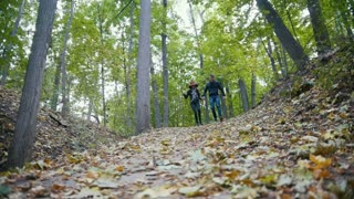 Young Couple at autumn park - having fun and running among yellow leaves, slow-motion