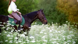 Young woman galloping on horse through the meadow at sunset