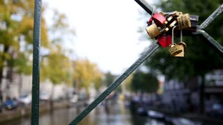 Wedding locks on Amsterdam bridge, Netherland