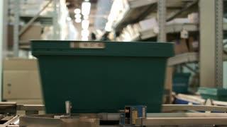 Work on the conveyor warehouse pharmacy, wide angle