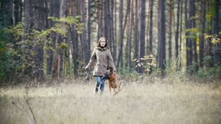 Young cute happy woman plays with her dog - german shepherd in yellow autumn park - dog plays with a branch, the girl's hair waving, slow-motion