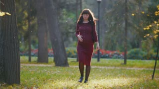 Young pregnant woman walking at autumn park among golden leaves, stroke her belly