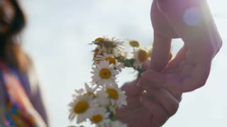 Young woman collects a wreath of daisies in meadow of flowers, close up, in front of the sun