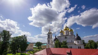 Ancient Christian church Timelapse.Clouds running above dome of the Church Timelapse.